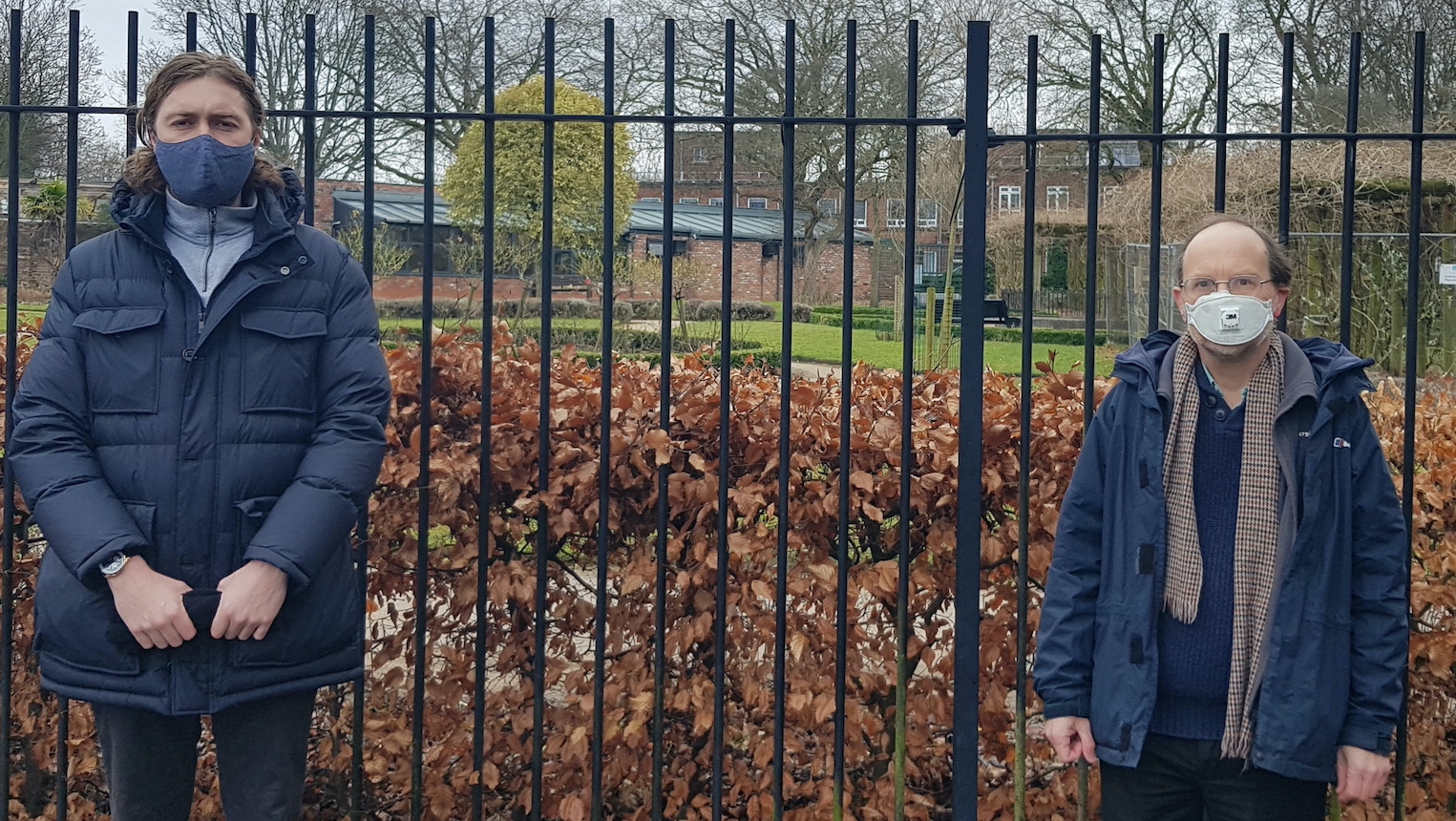 Dan Fieldsend and Cllr Lawrence Brown outside Greenbank Park